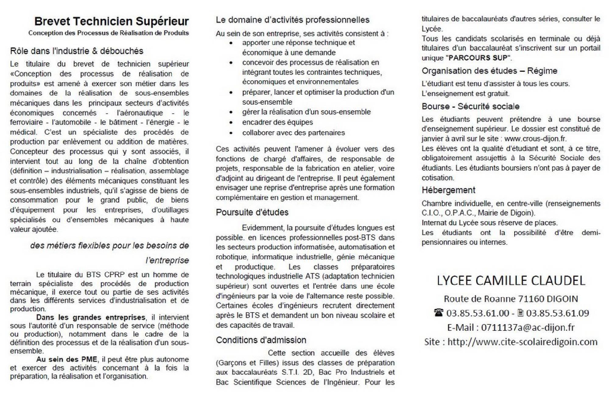Bts Conception Des Processus De Production De Produits Cité